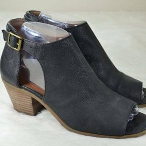 Lucky Brand Barimo Black Leather Cut Out Booties